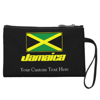 Black with Jamaica Flag Wristlet Clutches