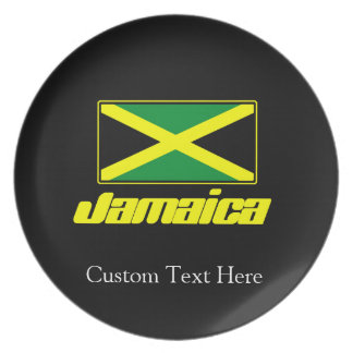 Black with Jamaica Flag Party Plate