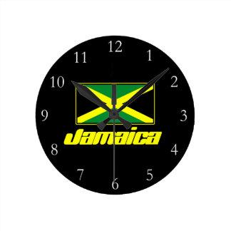 Black with Jamaica Flag Round Clock