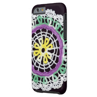 Black with lavender, yellow and green Iphone case