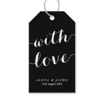 Black With Love Cute Modern Calligraphy Wedding Gift Tags