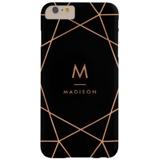 Black with Modern Faux Rose Gold Geometric Pattern Barely There iPhone 6 Plus Case