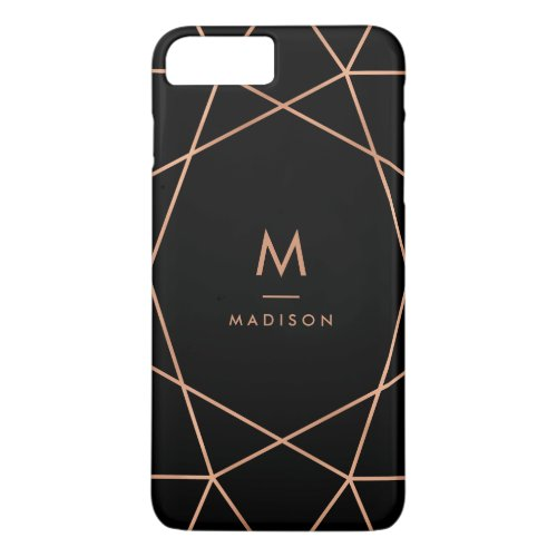 Black with Modern Faux Rose Gold Geometric Pattern Phone Case
