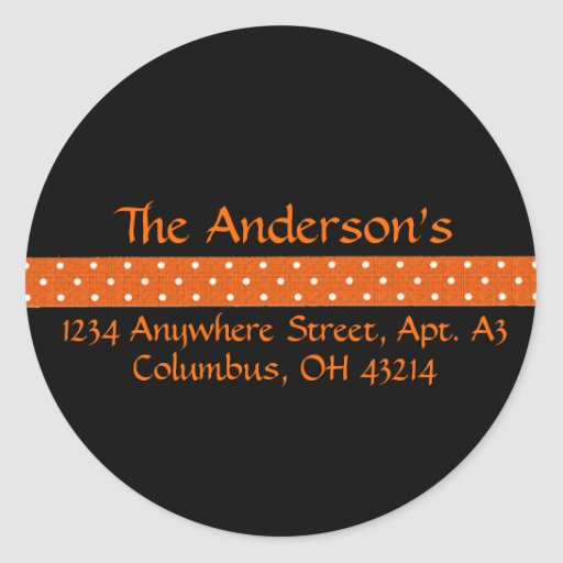 Black with Orange Dotted Ribbon Address Labels Classic Round Sticker
