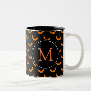 Halloween Themed Black with Orange Monogram Halloween Bats Two-Tone Coffee Mug