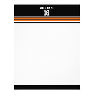 Black with Orange White Stripes Team Jersey Letterhead