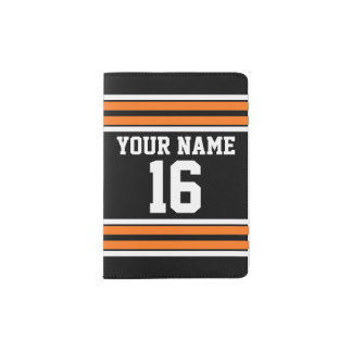 Black with Orange White Stripes Team Jersey Passport Holder