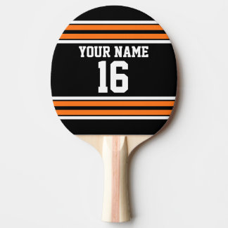 Black with Orange White Stripes Team Jersey Ping-Pong Paddle