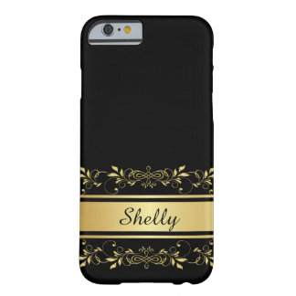 Black with Ornate Gold Swirls Banner iPhone6 Case Barely There iPhone 6 Case