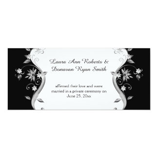 Black with Ornate Silver Flowers Swirls Reception 4x9.25 Paper Invitation Card
