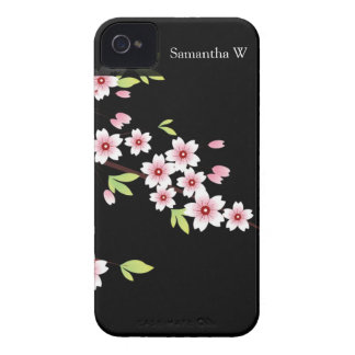 Black with Pink and Green Cherry Blossom Sakura iPhone 4 Case-Mate Case
