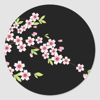 Black with Pink and Green Cherry Blossom Sakura Classic Round Sticker
