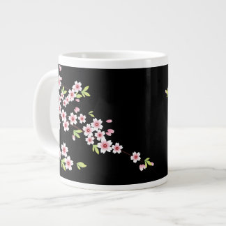 Black with Pink and Green Cherry Blossom Sakura Giant Coffee Mug
