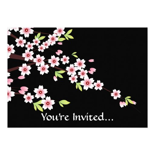Black with Pink and Green Cherry Blossom Sakura Invite