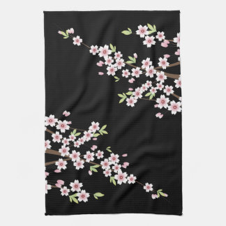 Black with Pink and Green Cherry Blossom Sakura Hand Towel