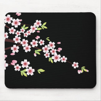 Black with Pink and Green Cherry Blossom Sakura Mouse Pads