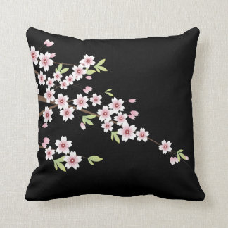 Black with Pink and Green Cherry Blossom Sakura Pillows