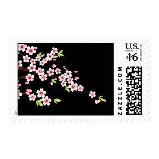 Black with Pink and Green Cherry Blossom Sakura Stamp