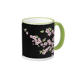Black with Pink and Green Cherry Blossom Sakura Ringer Coffee Mug