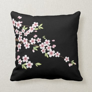 Black with Pink and Green Cherry Blossom Sakura Throw Pillow
