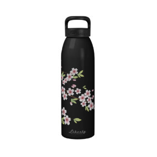 Black with Pink and Green Cherry Blossom Sakura Drinking Bottle
