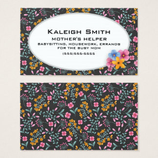 Black with Pink and Yellow Floral Mother's Helper Business Card