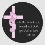 Black with Pink Cross & Bow Stickers