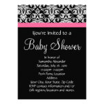 Black with Pink Damask Baby Shower Invites
