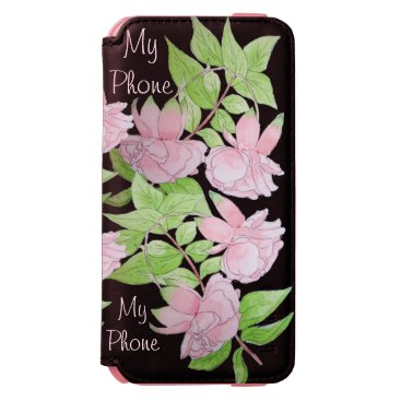 black with pink flowers all over floral print iPhone 6/6s wallet case