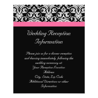 "Black with Pink Passion Damask 4.5"" X 5.6"" Flyer"