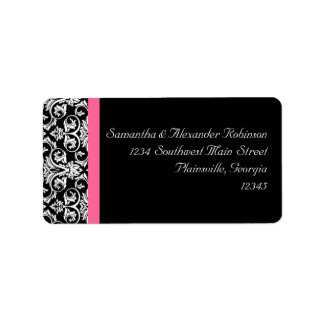 Black with Pink Passion Damask Address Label