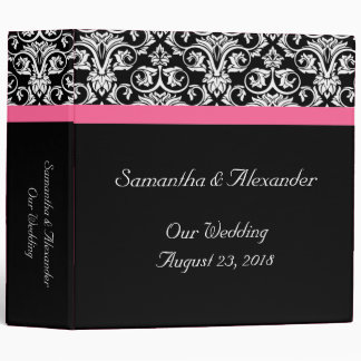 Black with Pink Passion Damask Binder