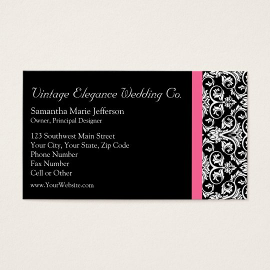 Black with pink passion damask business card zazzle black with pink passion damask business card reheart Choice Image