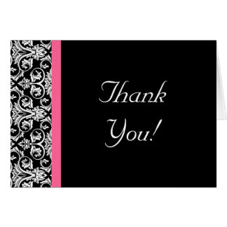 Black with Pink Passion Damask Greeting Card