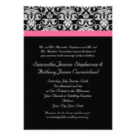 Black with Pink Passion Damask Custom Announcement