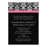 Black with Pink Passion Damask 5x7 Paper Invitation Card