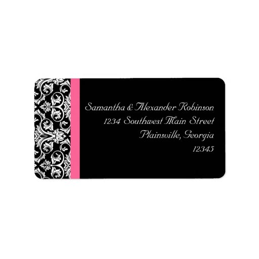 Black with Pink Passion Damask Personalized Address Labels