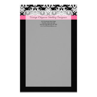 Black with Pink Passion Damask Stationery