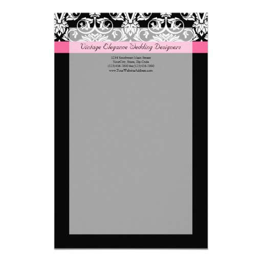 Black with Pink Passion Damask Stationery Design