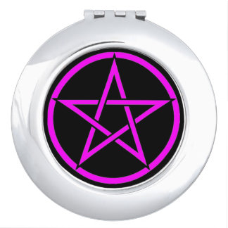 Black with Pink Pentacle Pagan Compact Mirror