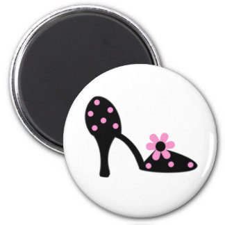 Black With Pink Polka Dot Shoe Magnet