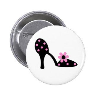 Black With Pink Polka Dot Shoe Pinback Button