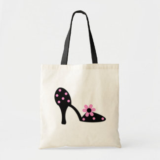 Black With Pink Polka Dot Shoe Tote Bag