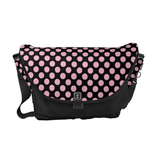 Black With Pink Polka Dots Messenger Bags