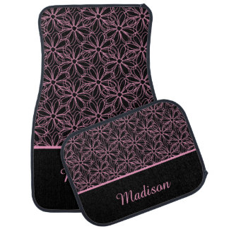 Black with Pink Sketched Daisies Monogram Car Floor Mat
