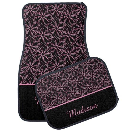 Black with Pink Sketched Daisies Monogram Car Floor Mat