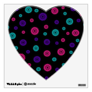 Black with pink turquoise purple flowers room sticker