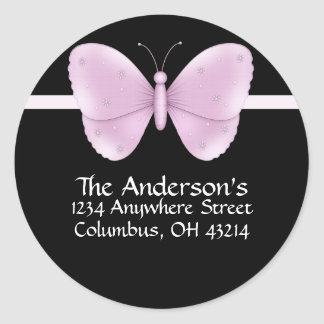 Black with Purple Butterfly Address Labels Classic Round Sticker