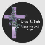 Black with Purple Cross with Purple Flowers Round Sticker