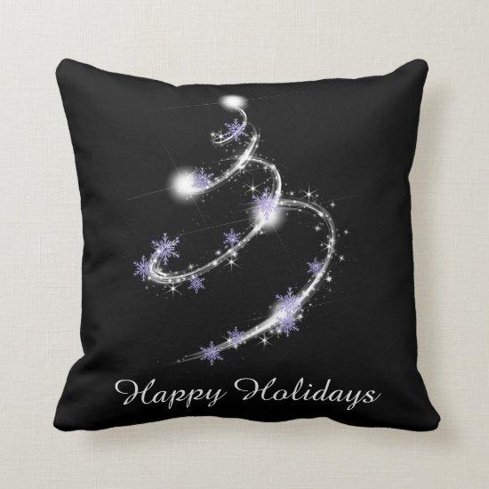 Black with Purple Snowflakes White Sparkles Throw Pillow